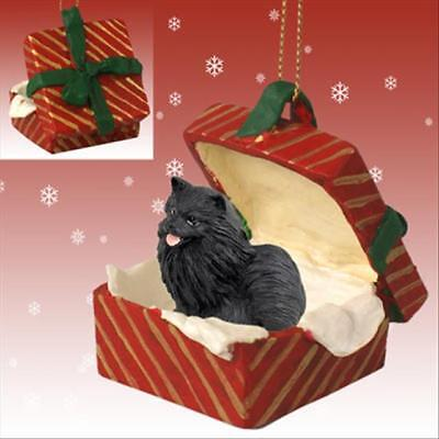 Pomeranian Black Dog RED Gift Box Holiday Christmas ORNAMENT