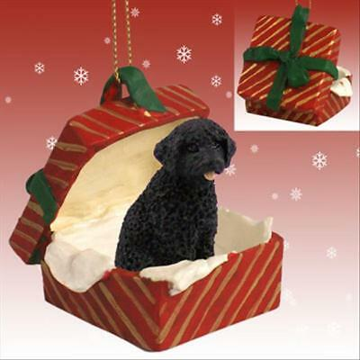 Portuguese Water Dog Dog RED Gift Box Holiday Christmas ORNAMENT