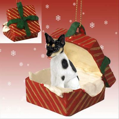 Rat Terrier Dog RED Gift Box Holiday Christmas ORNAMENT