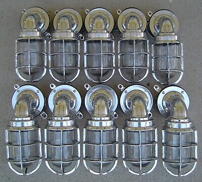 Lot of 10 Aluminum Nautical Wall Mount Ship Lights