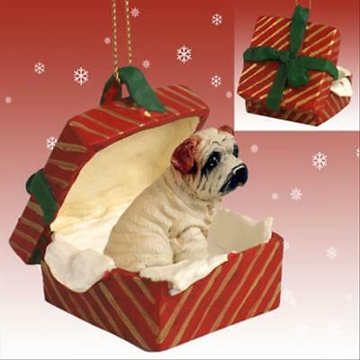 Shar Pei Cream Dog RED Gift Box Holiday Christmas ORNAMENT