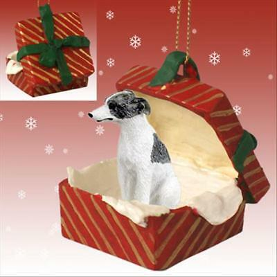 Whippet Gray White Dog RED Gift Box Holiday Christmas ORNAMENT