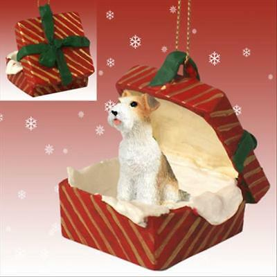 Wirehaired Fox Terrier Dog RED Gift Box Holiday Christmas ORNAMENT