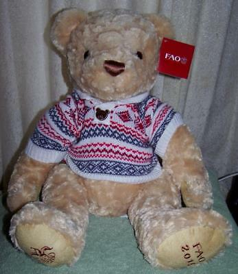 "FAO Schwarz 2015 tan TEDDY BEAR in Sweater 15"" NWT"