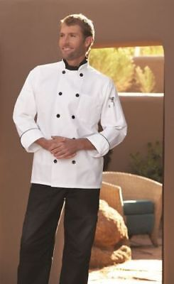Uncommon Threads Madrid Chef Jacket, White W/ Black Piping, XS to 2XL, 0407