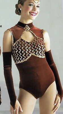 NWT Nutmeg Brown Gold Sequin Dance costume leotard Medium child Brooch included