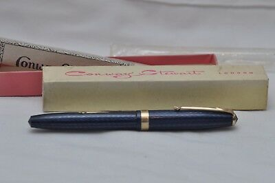 Lovely Rare Vintage Conway Stewart No76 Fountain Pen Blue Herringbone Mint Boxed