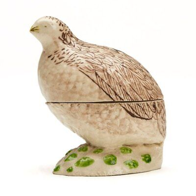 Antique British Creamware Quail Pottery Container 19Th C.