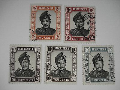 BRUNEI LOT OF 5 DIFFERENT STAMPS USED  VERY FINE - H 1950's
