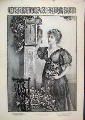 Old Antique Print Christmas C1850 Woman Hall Grandfather Clock Flowers 01MAR1
