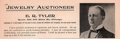 Ad Lot Of 3 1900 A - 1907 Ads E R Tyler Auctioneer Jewelry