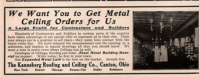 Ad Lot Of 3 1905 -15 B Ads Kanneberg Metal Ceiling Canton Store Interior Photo