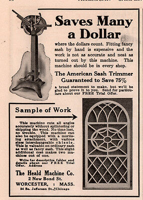 1915 B Ad Heald Machine Co Worcester Ma American Sash Trimmer Fancy