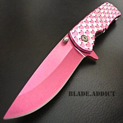 "8"" Ladies Pink HEARTS TACTICAL Combat Spring Assisted Open Pocket Knife Women"