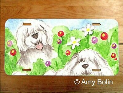 OES Sheepdog aluminum LICENSE PLATE Amy Bolin IN MOM'S GARDEN PERSONALIZE IT