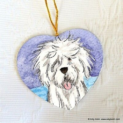 OES OLD ENGLISH CERAMIC HEART SHAPE Christ. ORNAMENT by Amy Bolin DRY CLEAN ONLY