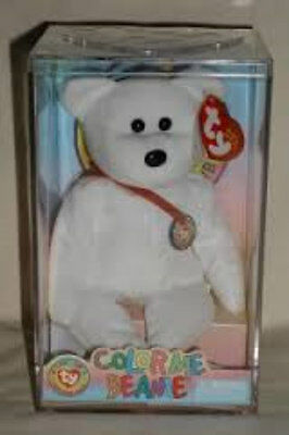 Color Me Beanie Ty Plush White Bear with Red Ribbon Brand New in Case