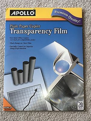 Apollo Plain Paper Copier Transparency Film Pack Of 20 Sheets PP100C-20