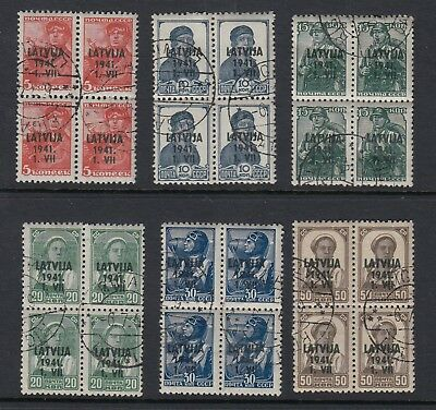 LATVIA 1941 German Occupation set of 6 in blocks of 4, USED