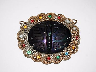 Antique Art Deco Molded Iridescent Black Glass Butterfly Moth Oval Cab Pendant