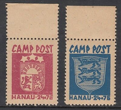 LATVIA WWII HANAU CAMP POST pair, Mint Never Hinged