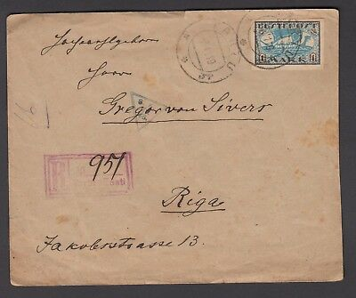 Estonia 1919 Registered Cover To Riga