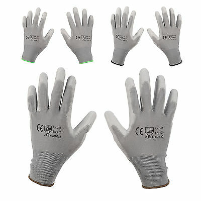 12/ 24 Pairs Grey PU Safety Work Glove Protect Palm Coated Gloves M L XL