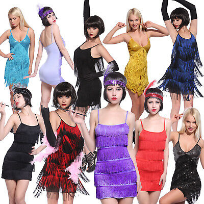 Ladies Charleston Flapper 20s Fancy Dress Costume Sexy Gatsby Girl Adult Outfit