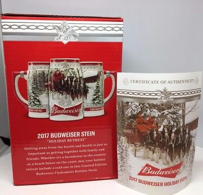 2017 Budweiser Holiday Stein Christmas Beer Mug from Annual series