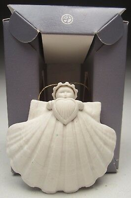 """Margaret Furlong Christmas Ornament Angel Holding A Heart 3"""" tall made in 1986"""