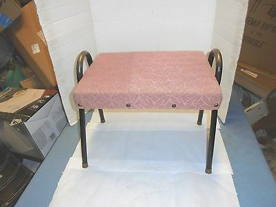 """vintage retro foot stool metal legs 17-1/2"""" long old style cloth child's seat"""