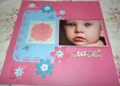"Scrapbook Page Handmade12 X 12  ""sweet.....baby Layout""....huge Sale"