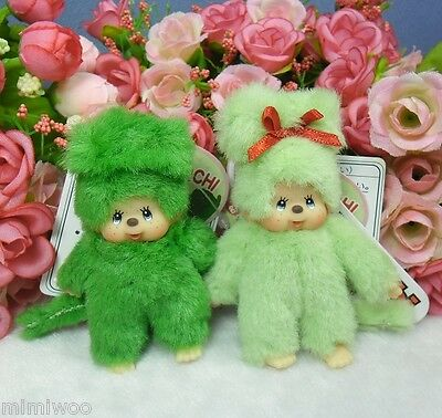 Monchhichi Mascot Japan Expo 2004 7.5cm Mini Plush Ball Chain BOY & GIRL ~ RARE