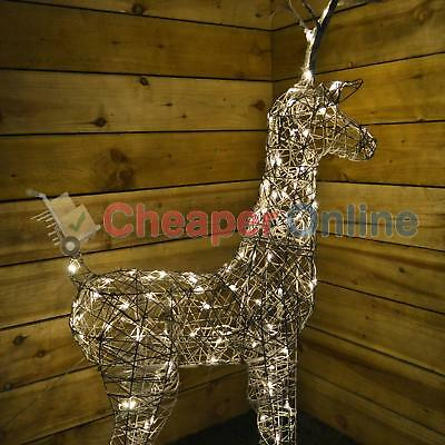 """135cm (53"""") Grey Outdoor Standing Wicker Reindeer Decoration With LED Lights"""