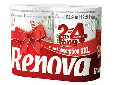 Renova White Print 2 Ply Christmas Xmas Kitchen Paper Towels - 48 Rolls