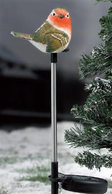 Light Up Solar Power Robin Garden Stake Ornament Christmas