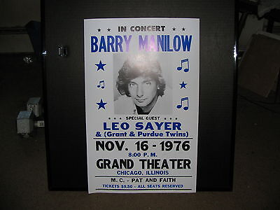 BARRY MANILOW - Concert Poster Chicago,IL  1976  Awesome Shape!!