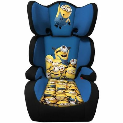 Minions Group 2 & 3 High Back Car Booster Seat With Adjustable & Removable Back