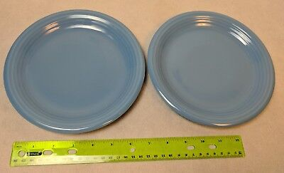 Blue Glazed Luncheon Plates w/ Ridged Rims