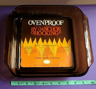 """Anchor Hocking Oven Proof Fire-King Bakeware Amber Glass 8"""" Cake Pan w/ Label"""