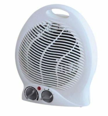 Portable Upright 2Kw White Black Fan Space Heater Cool Adjustable Thermostat