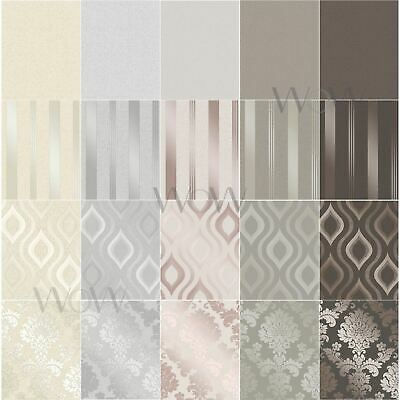 Fine Decor Quartz Wallpaper Metallic Textured Stripes Damask Fractal Geometric