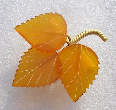 Beautiful vintage 1950's Russian Amber leaf brooch - Russian mark