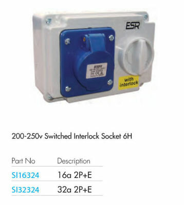 ESR IP44 Blue Industrial Switched Interlocked Socket 240v 32A 2P + E SI16324