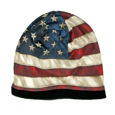 HD Sublimation Distressed USA American Flag Biker Stocking Skull Cap Beanie Hat