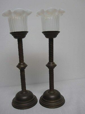 """PAIR OF ANTIQUE BRASS 16 1/2"""" CANDLESTICKS with WHITE OPALESCENT RUFFLE SHADES"""