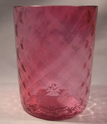 Cranberry Optic Quilted Tumbler Circa 1890 Great Condition!!!