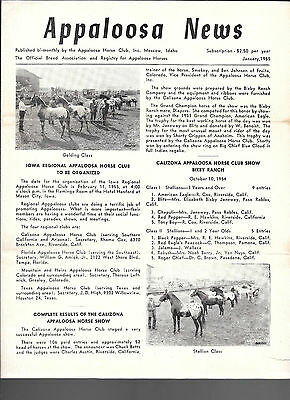 Appaloosa News January 1955 Official Breed Association Equine Horse Publication
