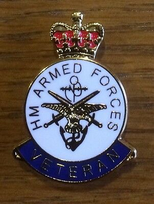 Veterans Badge Lapel Pin HIGH QUALITY Enamel HM Forces UK Army RAF Navy Gift