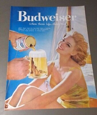 Woman And Sailboat in 1959 Budweiser Where There's Life There's Bud Beer Ad